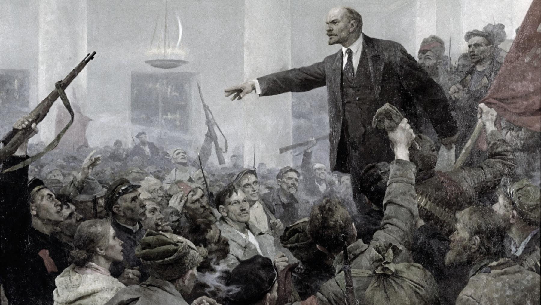 Lenin arringa i rivoluzionari