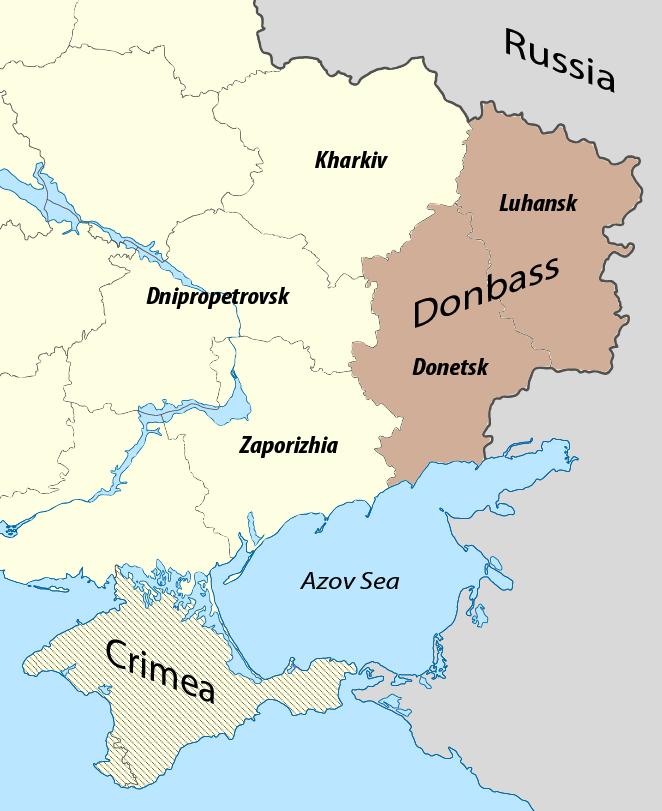 Cartina del Donbass