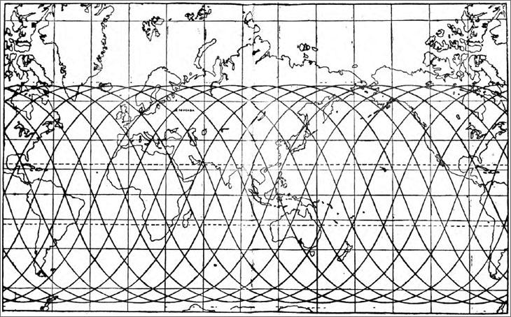 Mappa del percorso seguito dal satellite durante la missione