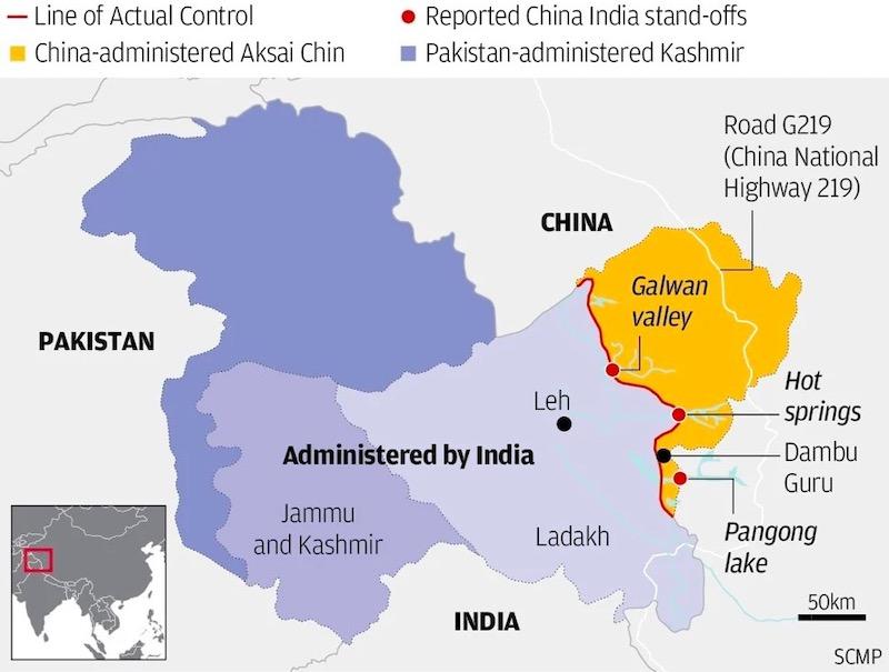 mappa cina india