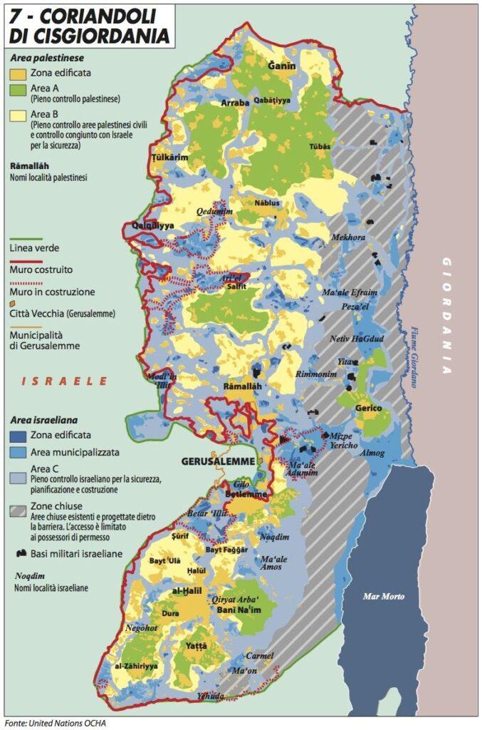 mappa cisgiordania