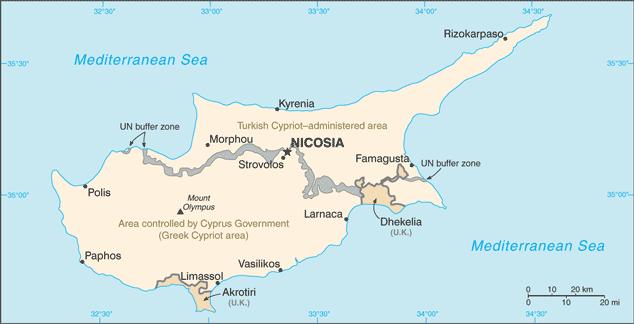 Cartina di Cipro