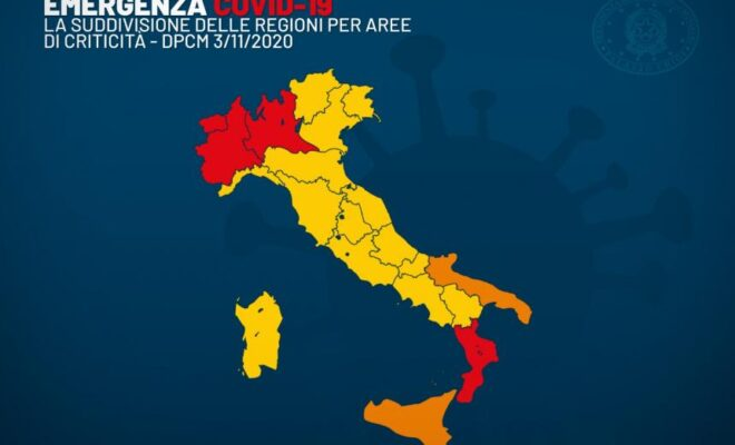 Mappa regioni dpcm covid