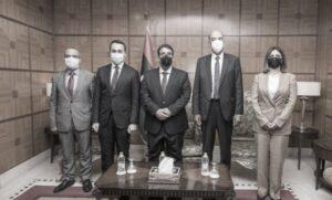 Foto incontro Di Maio-De Scalzi con il premier ad interim libico Dbeibeh