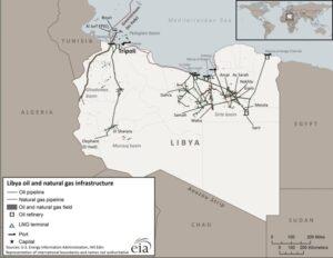 Mappa infrastrutture gas e petrolio della Libia