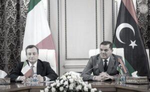 Draghi e Dbeibeh durante la dichiarazione congiunta