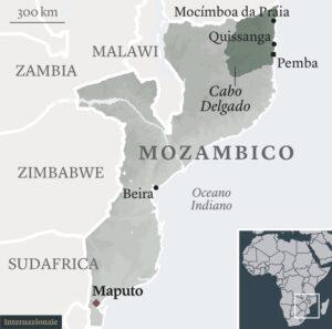 Cartina del Mozambico, Africa meridionale