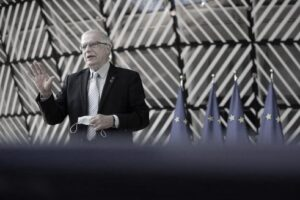 European Union for Foreign Affairs and Security Policy Josep Borrell talks during a statement before a Defence ministers meeting