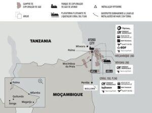 Mappa dei giacimenti di gas di Cabo Delgado realizzata dall'organizzazione Amici della Terra Mozambico