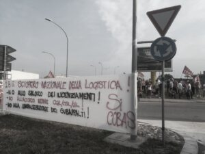 2021 giugno 18 Striscione Si Cobas Sciopero nazionale logistica a Bologna